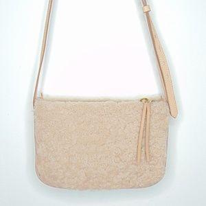 Madewell Genuine Shearling Nude Crossbody Bag